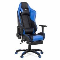 Scaun birou gaming OFF 306, rotativ, imitatie piele, negru + albastru, 1C