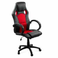Scaun birou gaming OFF 309, rotativ, imitatie piele, negru + rosu, 1C
