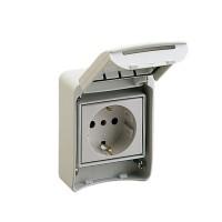 Priza Schneider Electric 81141, 2P+E, cu capac, contact de protectie