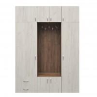 Cuier hol Madrid cu 11 agatatori, dulap si sertare, tabac + stejar alb, 8 usi, 1600 x 350 x 2200 mm, 5C