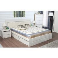 Pat dormitor Allegro, matrimonial, tapitat, cu sertar, crem, 140 x 200 cm, 5C