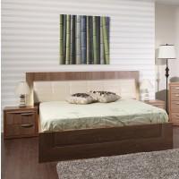 Pat dormitor Allegro, matrimonial, tapitat, cu sertar, nuc, 140 x 200 cm, 5C