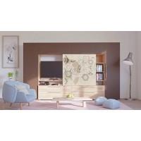 Biblioteca living Agora, stejar bardolino + alb + maro + print P53, 349 cm, 7C
