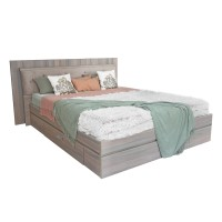 Pat dormitor Allegro, matrimonial, tapitat, cu sertare, ulm inchis, 180 x 200 cm, 5C