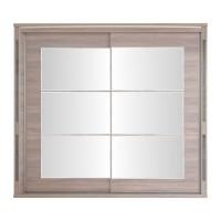 Dulap dormitor Allegro L220, ulm inchis + saten lucios, 2 usi glisante, cu oglinda, 220 x 61 x 211 cm, 11C