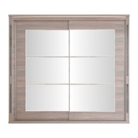 Dulap dormitor Allegro L250, ulm inchis + saten lucios, 2 usi glisante, cu oglinda, 250 x 61 x 211 cm, 11C