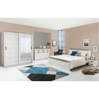 Dormitor complet Kent, stejar alb + stejar gri, 5 piese, 13C