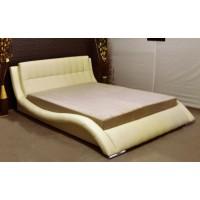 Pat dormitor Athos, matrimonial, tapitat, cu spatiu depozitare, imitatie piele crem, 160 x 200 cm, 3C