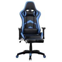 Scaun birou gaming Bergara, rotativ, PVC, negru + albastru
