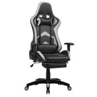 Scaun birou gaming Bergara, rotativ, PVC, negru + gri