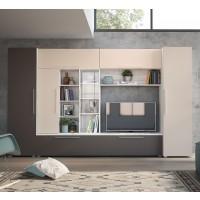 Biblioteca living Neo, gri A480 + satin + gri piatra, 350 cm, 6C