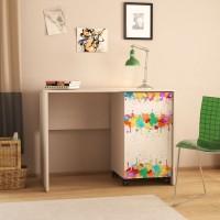 Birou calculator Andrei, stejar pastel + print P35, 103.5 x 76.5 x 56.5 cm, 3C