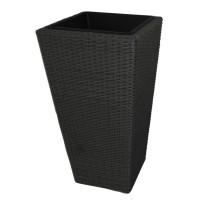 Ghiveci din metal + plastic cu finisaj ratan sintetic PLTP-1390/21157, patrat, negru 40 x 40 x 75 cm