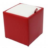 Taburet Box tip cub, cu spatiu depozitare, fix, patrat, imitatie piele diverse culori, 37 x 37 x 41 cm