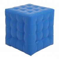 Taburet Bump tip cub, patrat, imitatie piele, albastru, 38 x 38 x 41 cm