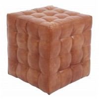 Taburet Bump tip cub, patrat, imitatie piele, cognac, 38 x 38 x 41 cm
