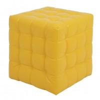 Taburet Bump tip cub, patrat, imitatie piele, galben, 38 x 38 x 41 cm