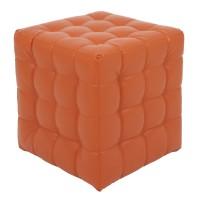 Taburet Bump tip cub, patrat, imitatie piele, portocaliu, 38 x 38 x 41 cm