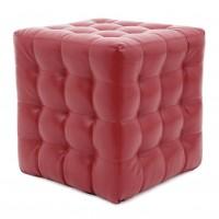 Taburet Bump tip cub, patrat, imitatie piele, rosu, 38 x 38 x 41 cm