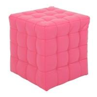 Taburet Bump tip cub, patrat, imitatie piele, roz, 38 x 38 x 41 cm