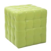Taburet Bump tip cub, patrat, imitatie piele, verde, 38 x 38 x 41 cm