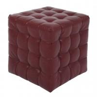 Taburet Bump tip cub, patrat, imitatie piele, visiniu, 38 x 38 x 41 cm