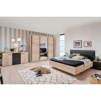 Dormitor complet Navara, stejar gri + negru, 5 piese, 17C