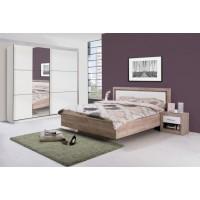 Dormitor complet Sierra, stejar gri + alb lucios, 4 piese, 13C