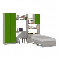 Camera tineret Alessia, gri beton + verde, 273 cm, 5C