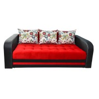 Canapea extensibila 3 locuri Delta, cu lada, rosu + negru, 230 x 109 x 80 cm, 4C
