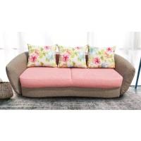 Canapea extensibila 3 locuri Velur, cu lada, rosu + maro, 245 x 120 x 90 cm, 4C
