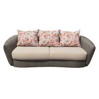 Canapea extensibila 3 locuri Velur, cu lada, crem + maro, 245 x 120 x 90 cm, 4C