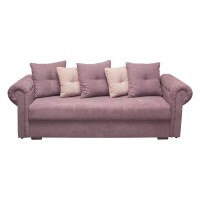 Canapea extensibila 3 locuri Saturn, cu lada, lila + roz pal, 245 x 105 x 75 cm, 3C
