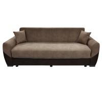 Canapea extensibila 3 locuri Visco, cu lada, maro + bej, 224 x 90 x 88 cm, 1C