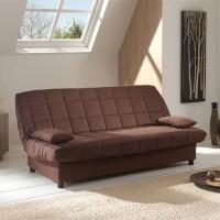 Canapea extensibila 3 locuri Click-Clack, cu lada, maro, 183 x 88 x 82 cm, 1C