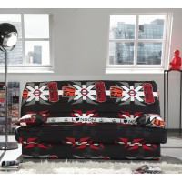 Canapea extensibila 3 locuri Click-Clack, cu lada, Luxeuil London, alb + rosu + negru, 190 x 88 x 90 cm, 1C