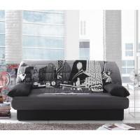 Canapea extensibila 3 locuri Click-Clack, cu lada, Luxeuil New York, alb + gri + negru, 190 x 88 x 90 cm, 1C