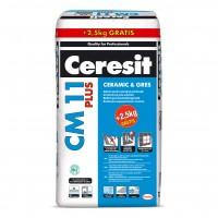 Adeziv gresie si faianta Ceresit CM 11 Plus, gri, pentru interior / exterior, 25 kg + 2.5 kg gratis