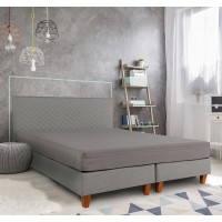 Pat dormitor Bedora Dream, matrimonial, cu saltea, gri, 160 x 200 cm, 2C