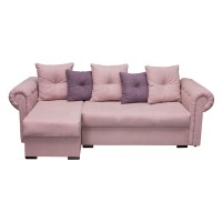Coltar living extensibil pe stanga / dreapta Saturn, cu lada, roz pal + lila, 270 x 150 x 75 cm, 4C
