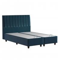Pat dormitor Cotton, matrimonial, tapitat, cu spatiu depozitare, albastru, 160 x 200 cm, 3C