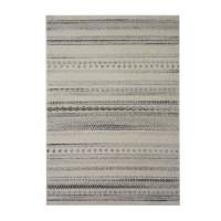 Covor living / dormitor McThree Casin 7081 V14 polipropilena frize, heat-set dreptunghiular crem - gri 60 x 110 cm