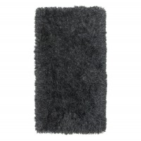 Covor living / dormitor Chip Shaggy V242 poliester dreptunghiular negru 80 x 150 cm
