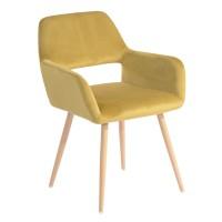 Scaun bucatarie / living fix Cromwell, tapitat, metal stejar + material textil galben