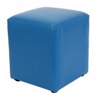 Taburet Cube tip cub, fix, patrat, imitatie piele, albastru, 38 x 38 x 45 cm, 1C