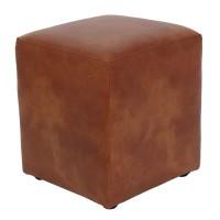 Taburet Cube tip cub, fix, patrat, imitatie piele, coniac, 38 x 38 x 45 cm, 1C