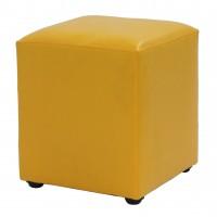 Taburet Cube tip cub, fix, patrat, imitatie piele, galben, 38 x 38 x 45 cm, 1C