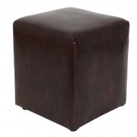 Taburet Cube tip cub, fix, patrat, imitatie piele, maro, 38 x 38 x 45 cm, 1C