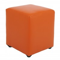 Taburet Cube tip cub, fix, patrat, imitatie piele, portocaliu, 38 x 38 x 45 cm, 1C