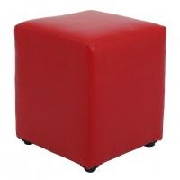 Taburet Cube tip cub, fix, patrat, imitatie piele, rosu, 38 x 38 x 45 cm, 1C